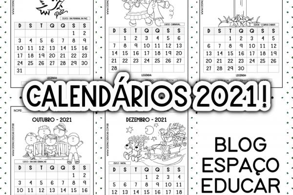 Calendários 2021 para imprimir!