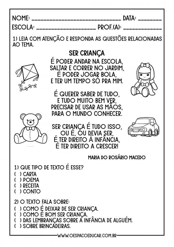 """Dia da Infância: sequência com tema """"Infância"""" para alunos em Alfabetização"""