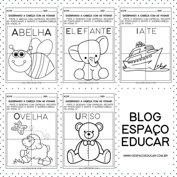 Educação Infantil: quebra-cabeças para trabalhar todas as vogais!