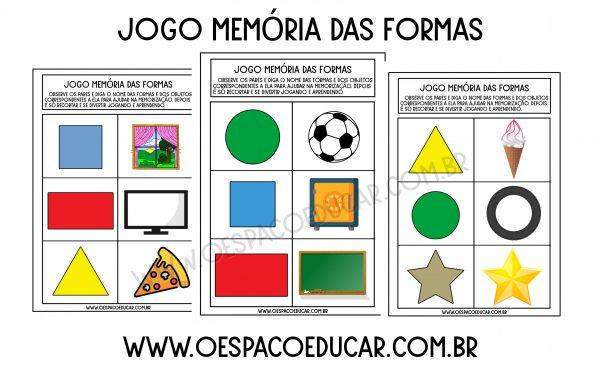 Educação Infantil: Jogo memória das formas!