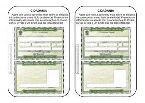 Cidadania: modelo de título de eleitor para trabalhar eleições!