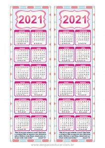 Calendários 2021 modelo marca páginas para imprimir!