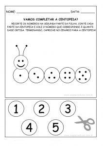 """Educação Infantil: atividade """"centopeia dos números"""" (1 a 5)!"""