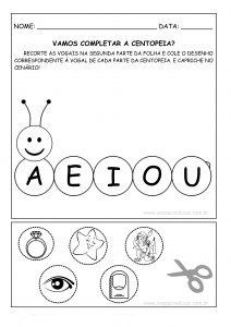 """Educação Infantil: atividade """"centopeia das vogais""""!"""