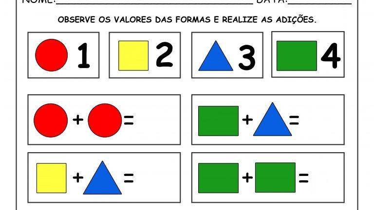 Educação Infantil: adições e subtrações com formas (1 a 4)!