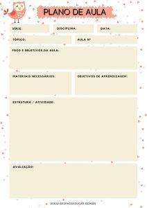Planejamento: modelo de plano de aula para imprimir!