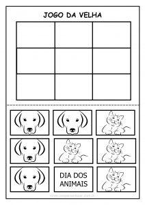Dia dos animais: jogo da velha cães e gatos