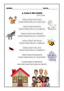 """Alfabetização: atividades """"A casa e seu dono"""""""