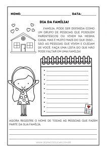 Alfabetização: história e atividade com listas para o dia da família!
