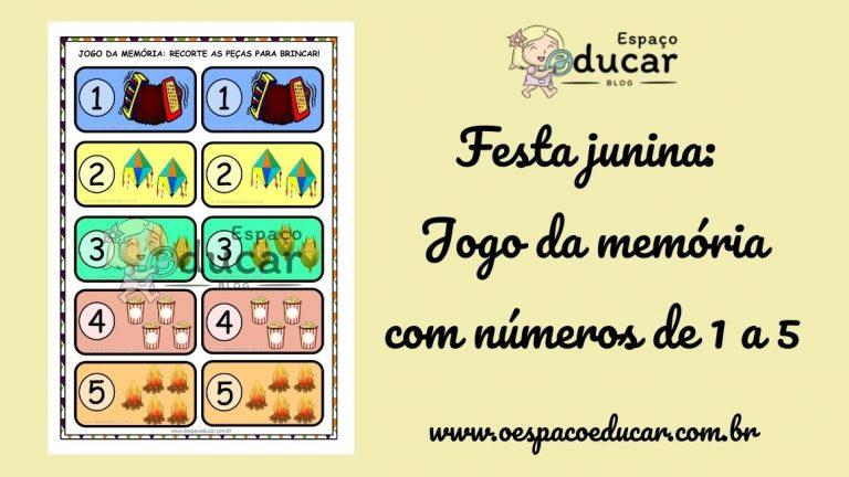 Festa Junina: Jogo da memória com números de 1 a 5!