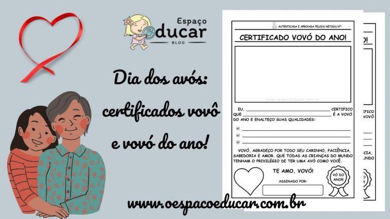 Dia dos avós: certificados vovô e vovó do ano!